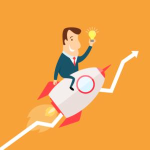 homme fusée idée startup croissance